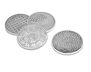 Godinger 4 COASTERS USA CITIES MANHOLES