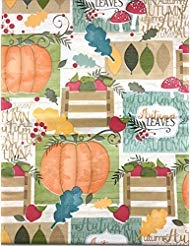 Elegant Autumn Harvest Collage Holiday Flannel Backed Vinyl Tablecloth: Fun Designs of Fall Leaves, Apples, Pumpkins, and More! (60 Round)