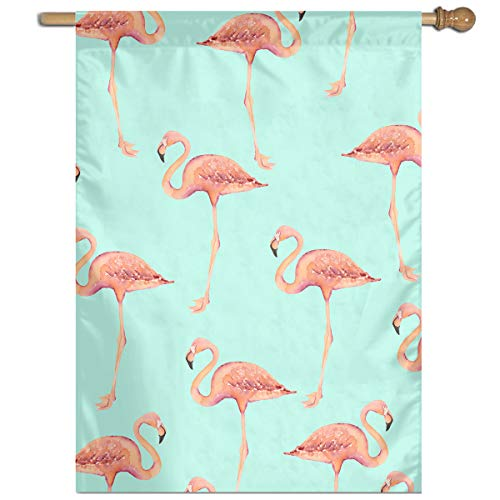 YUANSHAN Single Print Home Garden Flag Red Flamingos Pattern Polyester Indoor/Outdoor Wall Banners Decorative Flag 27