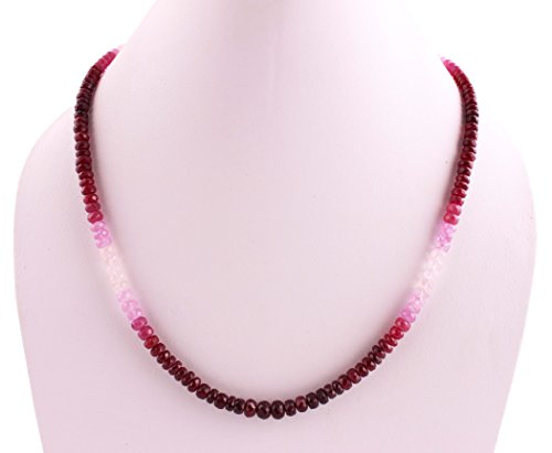 Neerupam Collection 108 Carats Natural Ruby Faceted Rondelle Beads Necklace For Women