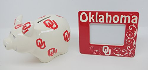 NCAA Oklahoma Sooners Piggy Bank with All Over Logo + (Oklahoma Sooners Piggy Bank)