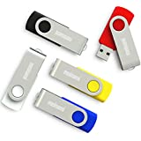 MeiNaMi 5PCS 32GB USB Flash Drive 32 gb Thumb Drive Memory Stick Swivel Keychain Design USB Drive Pack Mix Colors