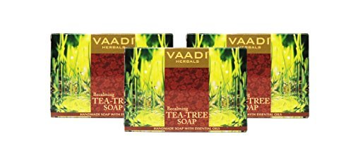 Tea Tree Soap (Tea Tree Oil Bath Bar Soap) - Handmade Herbal Soap (Aromatherapy) with 100% Pure Essential Oils - ALL Natural - Anti Acne Therapy - Each 2.65 Ounces - Pack of 3 (8 Ounces) - Vaadi Herbals