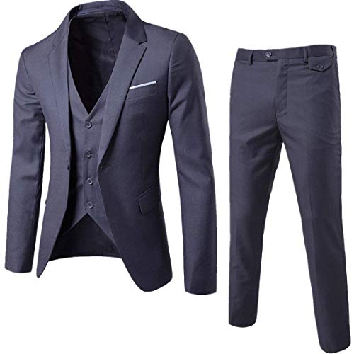 Cloudstyle Mens 3-Piece Suit Notched Lapel One Button Slim Fit Formal Jacket Vest Pants Set Dark Grey