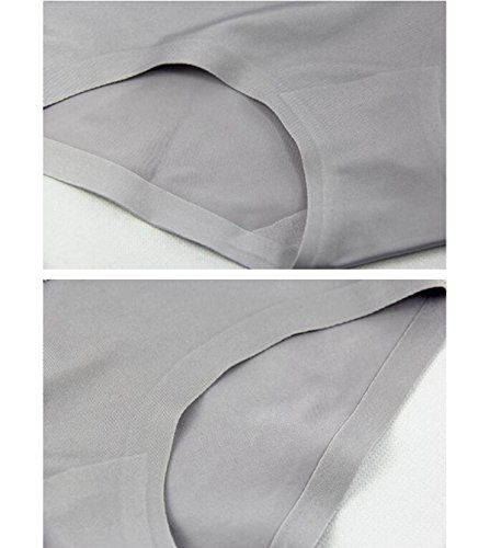 POKWAI Mujer Super Cómodo Borde Interior Ropa Interior Del Cordón De La Cintura En Simples Del Color Sólido De Seda Del Hielo Calzoncillos Pantalones Hip 4 Paquete 9