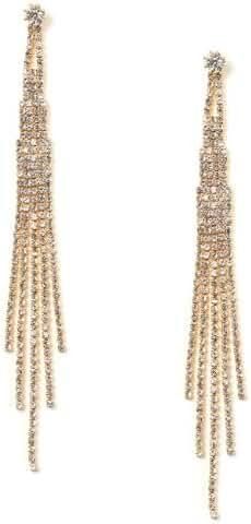 Gold Crystal Rhinestone Long 5 Strands Dangle Earrings