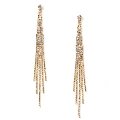 [Gold Crystal Rhinestone Long 5 Strands Dangle Earrings] (Gold Dangle Earrings)