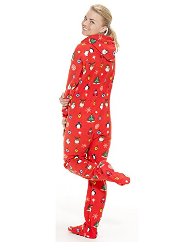 5dac80a77848 Footed Pajamas - Holly Jolly Christmas Adult Hoodie One Piece - Buy ...