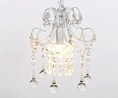 Mini Style Crystal Chandelier Pendant Light White,1-Light