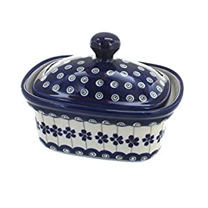 Blue Rose Polish Pottery Flowering Peacock Butter Tub