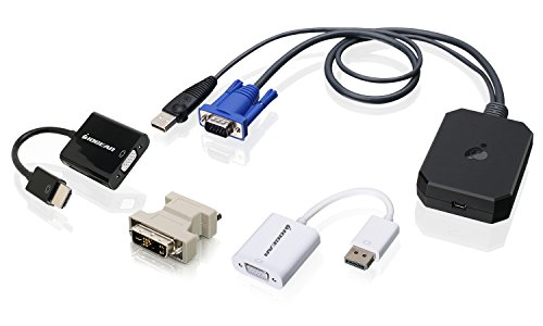 IOGEAR Portable Laptop Console Crash Cart Adapter with DisplayPort, HDMI, and DVI to VGA Adapters