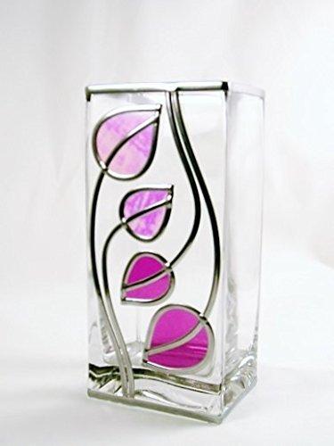 Charles Rennie Mackintosh Style Decorative Glass Vase With Fuschia