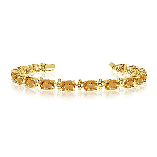 14K Yellow Gold Oval Citrine Tennis Bracelet (9 Inch Length)
