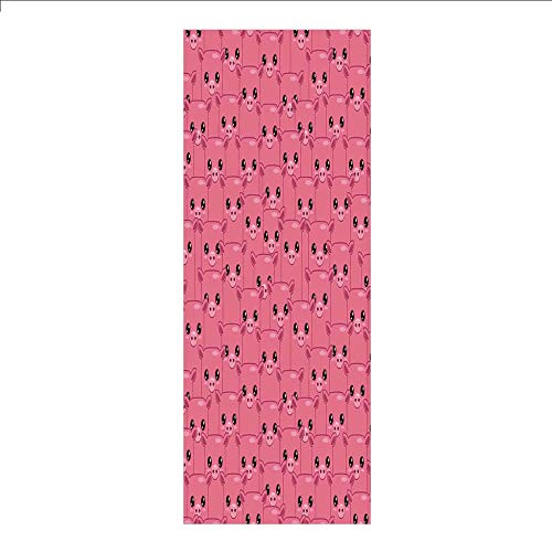 (3D Decorative Film Privacy Window Film No Glue,Pig Decor,Smily Square Faced Little Pigs Eyes Noses Crowd Herd of Animals Pattern,for)