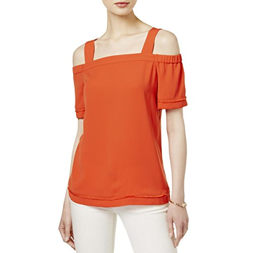 (Bar III Womens Off-The-Shoulder Keyhole Blouse Orange M)