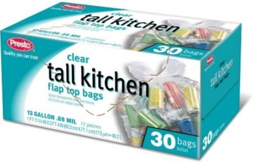 Clear Tall Kitchen Garbage Bags, 13 Gallon, 30 Count