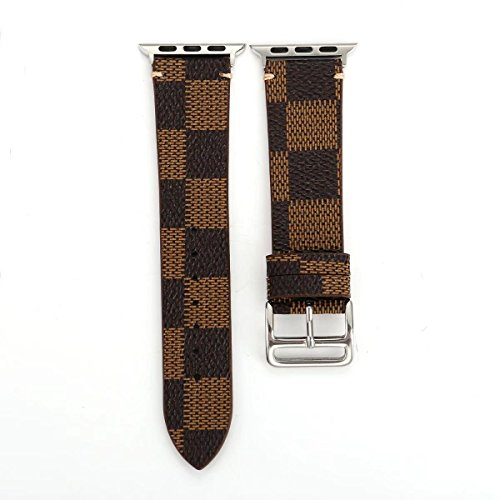 (for Apple Watch 38/40mm Plaid Leather Band Wristwach Strap Belt for iwatch Series 4/3/2/1 Men's Watch Loop Brown Bracelet. (Plaid 2-38/40))