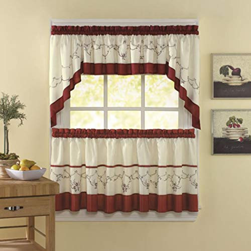 5 Piece Cottage Kitchen Curtain - 5 Piece Cinnabar Ivory Floral Embroidered Kitchen Tiers Set 58 X 36 Inch, Red Color Flower Kitchen Curtains Log Cabin, Lodge Cottage Bohemian Print Window Treatment Garden Themed Traditional Polyester