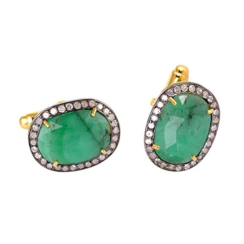 Emerald Cufflinks (Christmas Gift ! 6.8 ct Emerald Diamond 14kt Solid Gold Silver Cuff links Jewelry For Men's)