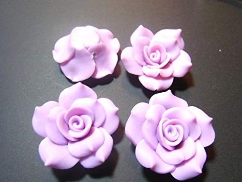 10 Large Lavender Purple Fimo Polymer Clay Flower Rose Beads
