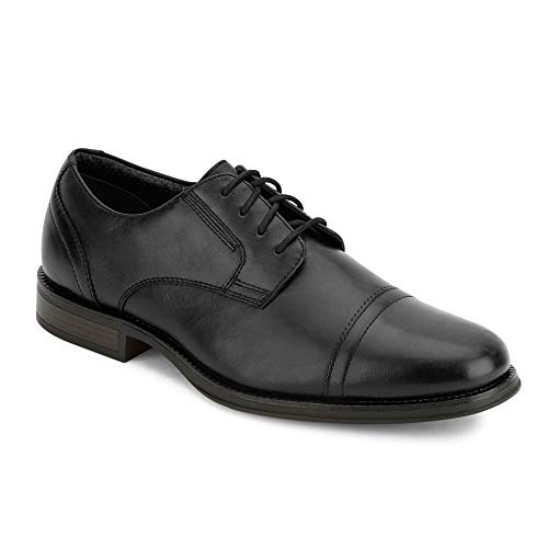 Handcrafted Leather Oxford Dress Shoes - Dockers Mens Garfield Dress Cap Toe Oxford Shoe, Black, 9.5 M