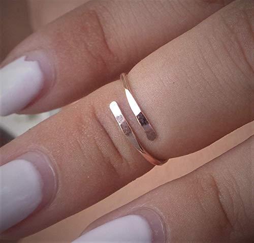 (14K Solid Rose Gold Toe-Midi-Knuckle Ring Hammered Adjustable size)