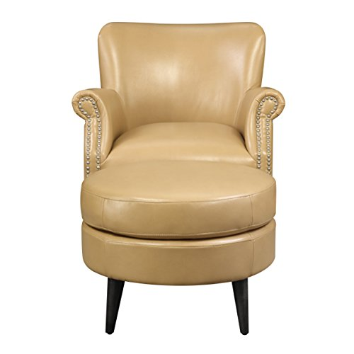 (Emerald Home Oscar Saddle Accent Chair And Ottoman with Faux Leather Upholstery And Nailhead Trim )