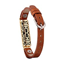 Replacement Genuine Leather Straps Wristbands with Clip Holder Case Cage for Fitbit Flex 2 Heart Rate Fitness Tracker (Brown Band & Gold Cage)