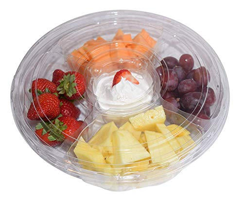 Pactiv 5 Compartment, Disposable Clear Fruit/Vegetable Tray with Lid (5 Sets)]()