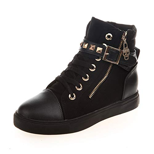 - Women's high-top Canvas Shoes Zipper Studded Casual Shoes(Black 1,Label 35/5 M US)