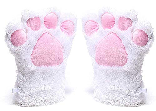 BingHang Women Cosplay Cat Paw All Cover Warm Gloves for women and girls (white) ()