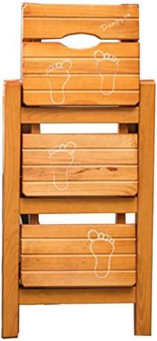 LHF Inicio Taburetes, escaleras de tijera plegables Taburete de madera de 3 peldaños para adultos Cocina para niños Escaleras de madera Taburetes pequeños para pies Banco de zapatos portátil de inter: Amazon.es: