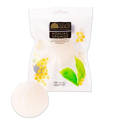 Konjac Facial Sponge Pure - Gold White Australia