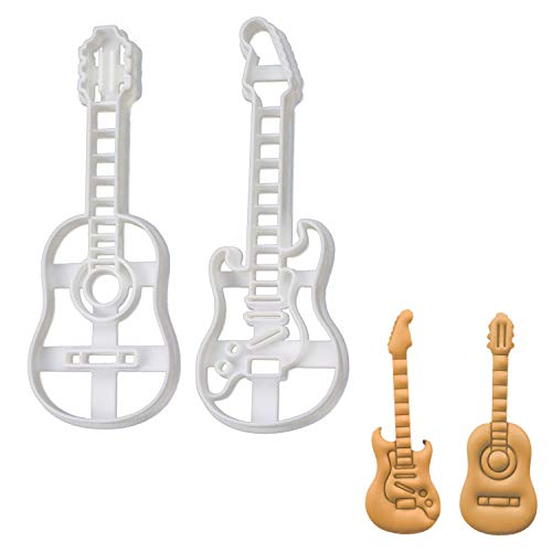 Set of 2 Guitar cookie cutters (Designs: Acoustic and Electric Guitar), 2 pieces - Bakerlogy