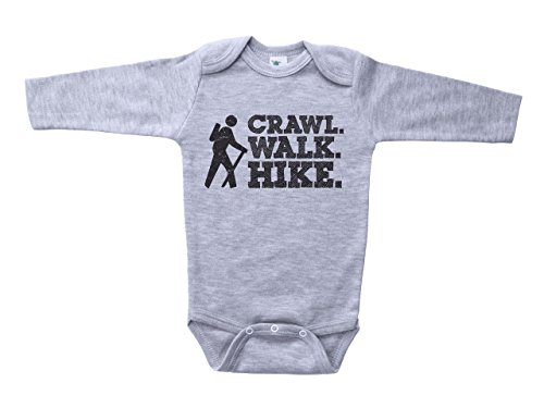 Cute Hiking Onesie/Crawl. Walk. Hike. / Unisex Baby or Toddler Bodysuit Outfit (Newborn, Grey LS)