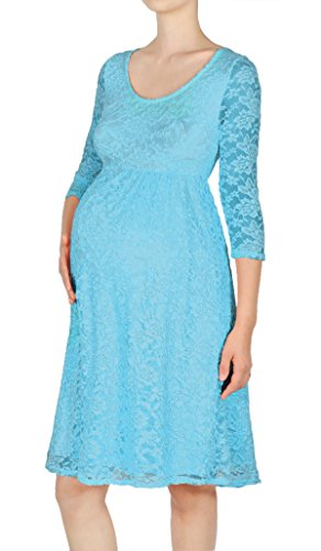 Beachcoco Women's Maternity 3/4 Sleeve Knee Length Lace Dress Made in USA