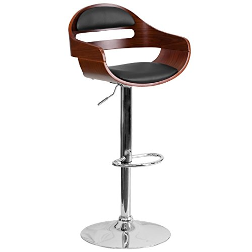 MFO Walnut Bentwood Adjustable Height Barstool with Black Vinyl Seat and Cutout Padded Back price