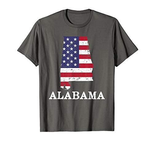 Alabama Map State American Flag Shirt 4th Of July Pride Tee ()