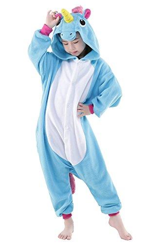 Kids Unicorn Onesies Kigurumi Animal Costume (85#(35-43 inch), Blue (Unicorn Kids Costume)