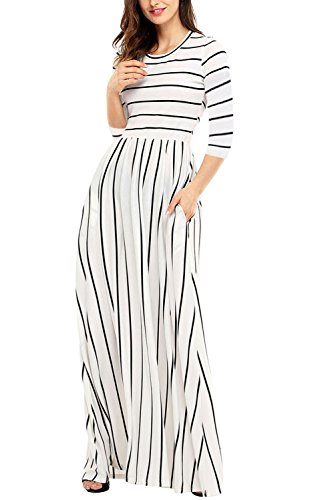 Uniarmoire Women's Summer Casual Loose Striped Long Dress with Pocket Maxi Dress White L
