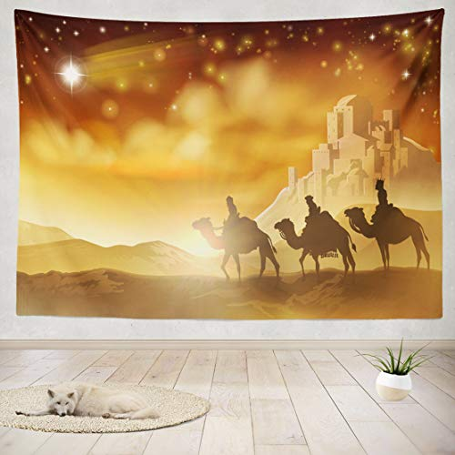 (ASOCO Tapestry Wall Handing Three Wise Men Journey Star and City Nativity Christmas Nativity Men Wise Wall Tapestry for Bedroom Living Room Tablecloth Dorm 80