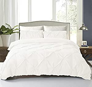 NC HOME FASHIONS Pinch Pleated Duvet Set Cover with Zipper & Corner Ties for Comforter/Quilt/Blanket, 3-Pieces with 2 Pillow Shams-Luxurious, Hypoallergenic Pintuck Decorative King White