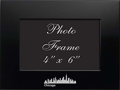 LXG, Inc. Chicago, Illinois-4x6 Brushed Metal Picture Frame-Black ()