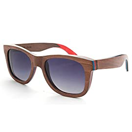 "MOTELAN Polarized Wood Sunglasses Layered Skateboard Wooden Frame Bamboo Case 64 HANDCRAFTED WOODEN SUNGLASSES- Each pair of sunglasses is unique and made from sustainable bamboo wood. The sunglasses are lightweight and can float in the water. DESIGNER POLARIZED LENSES - Our polarized lenses provides crystal clear vision and anti-glare with UV400 protection, protect your eyes from the suns rays during explorations. CLASSIC NATURAL STYLE - Classic wayfarer style looks good on everyone. Frame size: 149mm front width x 143mm frame leg length x 49mm height (5.8"" x 5.6"" x 1.9""). Nose bridge: 19mm (0.75""). Lens size 54mm x 43mm (2.1"" x 1.7"")."