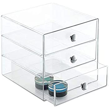 InterDesign 3 Drawer Storage Organizer for Cosmetics, Makeup, Beauty Products-Clear, 6.5