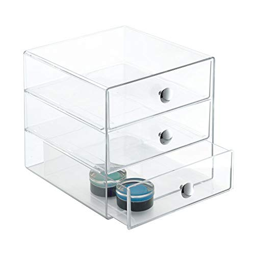 Box Gloss High Storage (InterDesign 3-Drawer Multipurpose Storage Container with Knobs, Clear (35300))