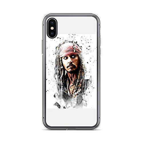 (iPhone X/XS Case Anti-Scratch Motion Picture Transparent Cases Cover Jack Sparrow On Meta Movies Video Film Crystal)