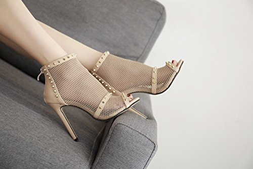Fall Heels Party Heel Club ShoesTulle amp; Rivets for Shoes Evening Women's Summer Wedding Shoes B Stiletto Sexy 4qXEFHw