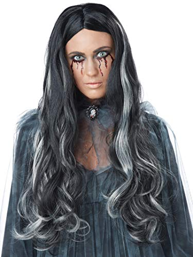 Female Zombie Halloween Ideas (California Costumes Women's Bloody Mary Wig, Black/Gray, One)
