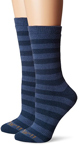 Socks Womens Thermal (Carhartt Women's 2 Pack Arctic Thermal Crew Socks, Navy, Shoe Size: 5.5-11.5)